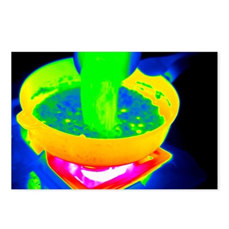 Cooking with a saucepan, thermogram - Postcards (P