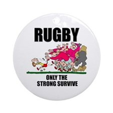 Only The Strong Rugby Ornament (Round)