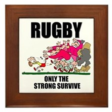 Only The Strong Rugby Framed Tile
