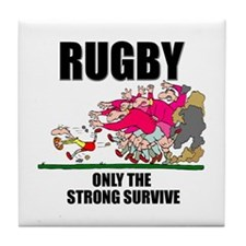 Only The Strong Rugby Tile Coaster