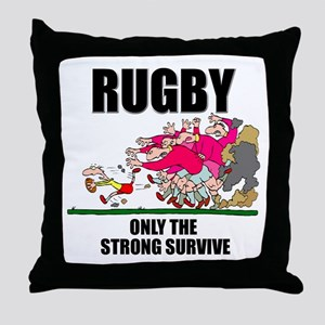 Only The Strong Rugby Throw Pillow