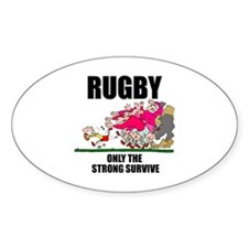Only The Strong Rugby Oval Sticker