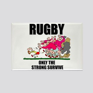 Only The Strong Rugby Rectangle Magnet