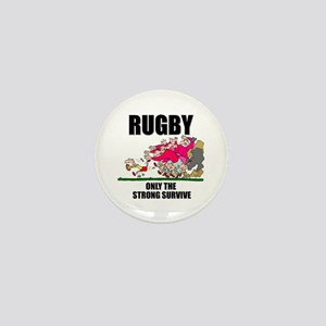 Only The Strong Rugby Mini Button