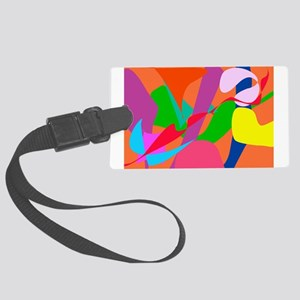 Colorful Abstract Orange Large Luggage Tag