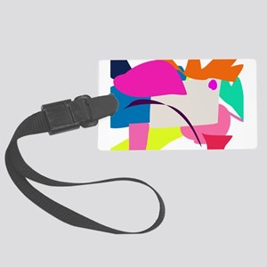 Colorful Abstract Bird Large Luggage Tag