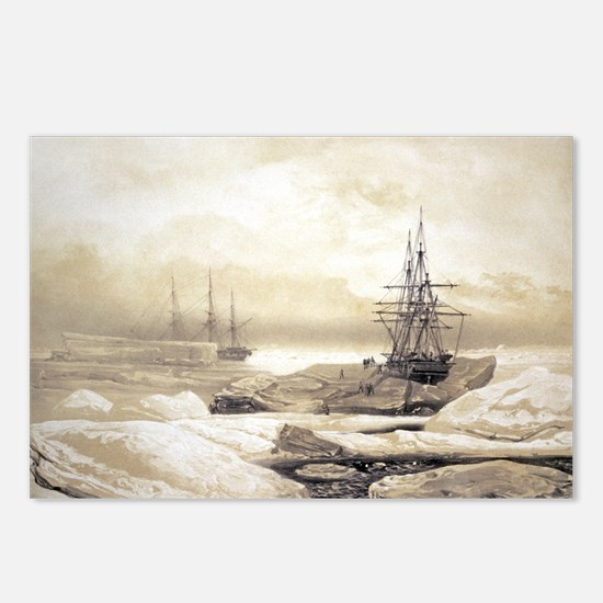 Ship stuck in Antarctic ice, artwork - Postcards (