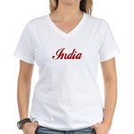 India Women's V-Neck T-Shirt
