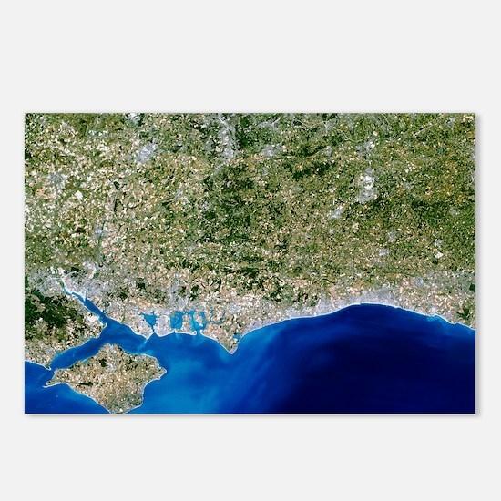 True-colour satellite image of Hampshire - Postcar