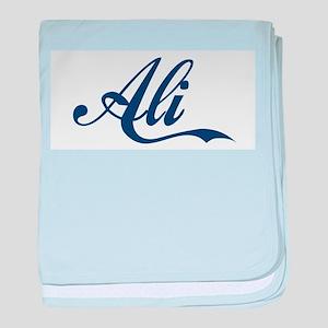 Ali name (Blue) baby blanket