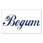 Begum name (Blue) Sticker (Rectangle)