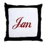 Jan name Throw Pillow