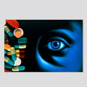 Illustration of an eye, with pills superimposed -
