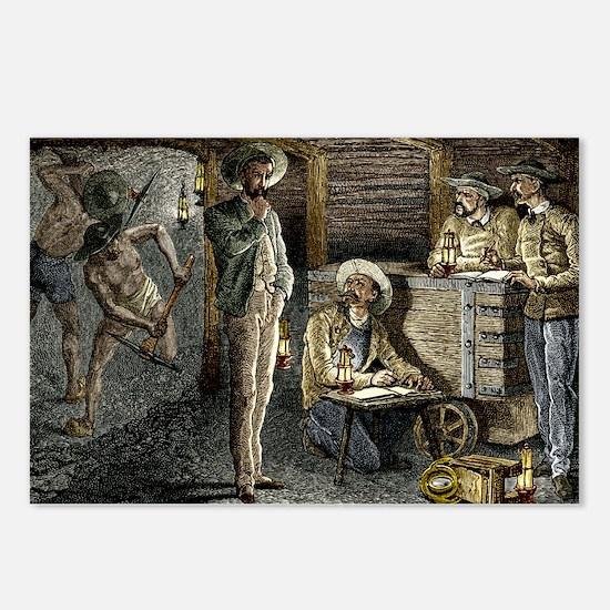 19th-century coal mining - Postcards (Pk of 8)