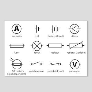 Bs 3939 Schematic Symbols Electrical Electric Cir Postcards - CafePress