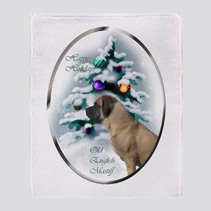 English Mastiff Christmas Throw Blanket