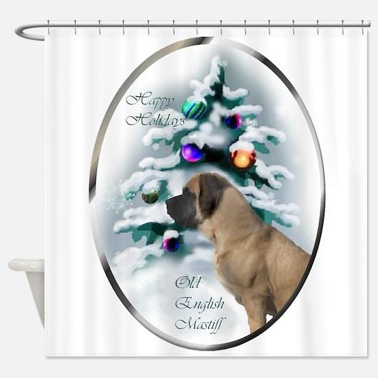 English Mastiff Christmas Shower Curtain