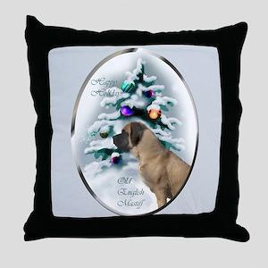 English Mastiff Christmas Throw Pillow