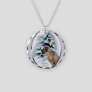 English Mastiff Christmas Necklace Circle Charm