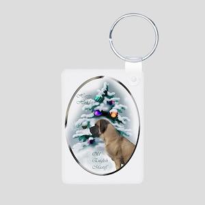 English Mastiff Christmas Aluminum Photo Keychain