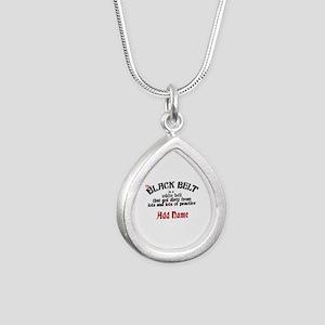 The Black Belt is Silver Teardrop Necklace
