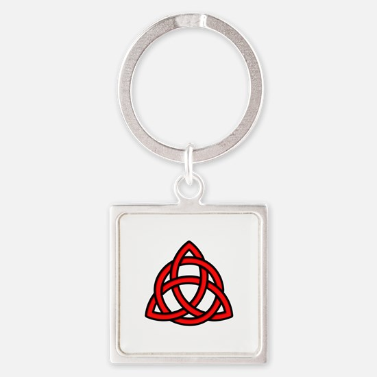 Celtic Knot Red Square Keychain