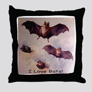 I Love Bats! Throw Pillow