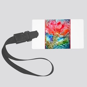 Flower! Bright floral art! Large Luggage Tag