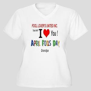 April Fool Grandpa Women's Plus Size V-Neck T-Shir