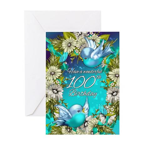 100th Birthday Greeting Card With Bluebirds