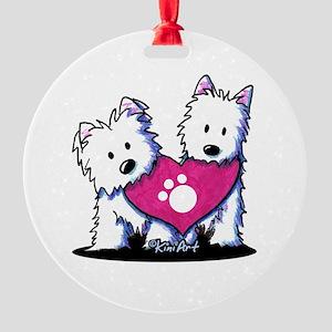 Valentine Westies Round Ornament