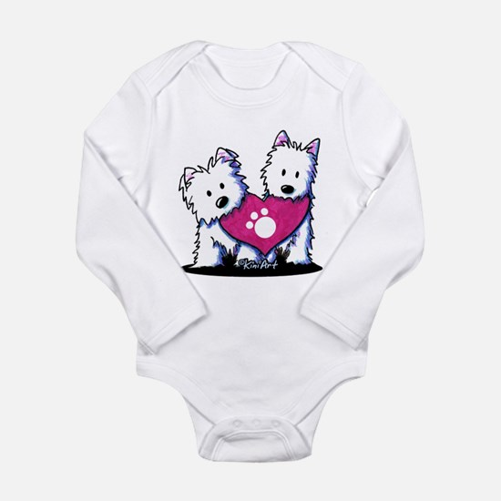 Valentine Westies Long Sleeve Infant Bodysuit