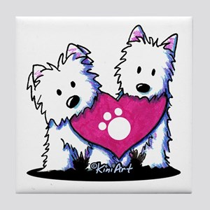 Valentine Westies Tile Coaster
