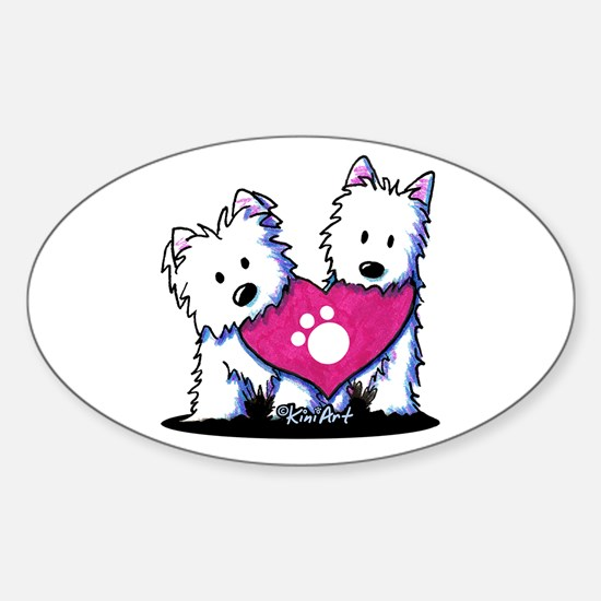 Valentine Westies Sticker (Oval)