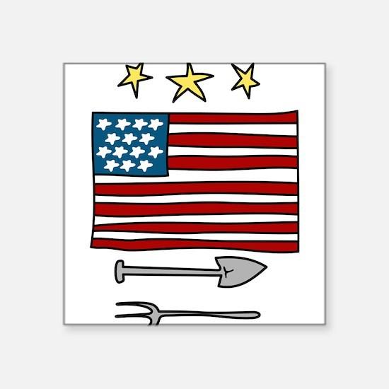 """Patriotic Farmer Square Sticker 3"""" x 3"""""""
