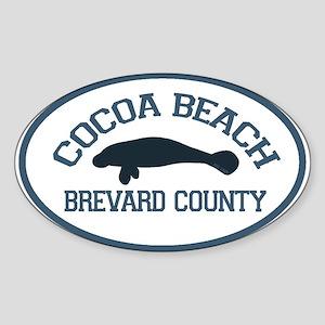 Cocoa Beach - Manatee Design. Sticker (Oval)