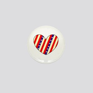 Red White Blue July 4 Heart Valentines Mini Button