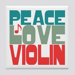 Peace Love Violin Tile Coaster