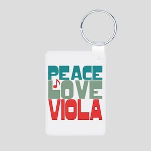 Peace Love Viola Aluminum Photo Keychain