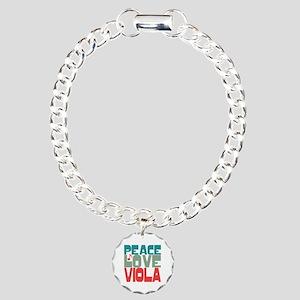 Peace Love Viola Charm Bracelet, One Charm