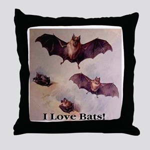 I Love Bats First Edition Throw Pillow