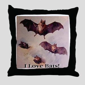 I Love Bats First Edition Throw Pillow