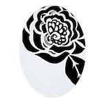 Black Digital Flower Design Ornament (Oval)