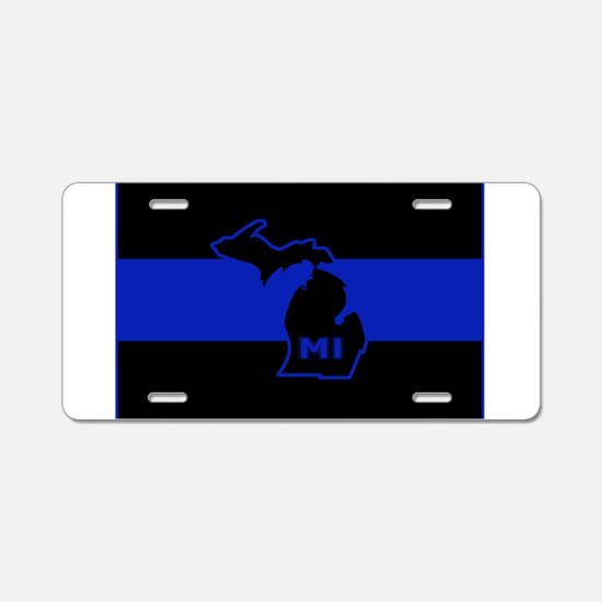 Michigan Thin Blue Line Aluminum License Plate
