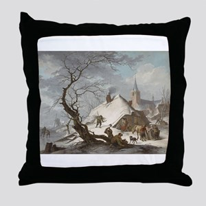 Painting of a Winter Scene Throw Pillow