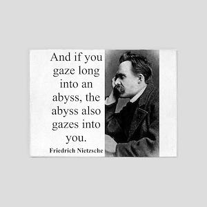 And If You Gaze Long - Nietzsche 5'x7'Area Rug