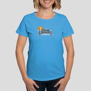 Cocoa Beach - Pier Design. Women's Dark T-Shirt