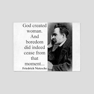 God Created Woman - Nietzsche 5'x7'Area Rug