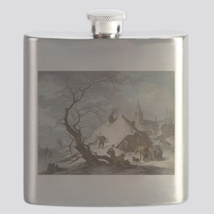 Painting of a Winter Scene Flask