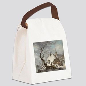 Painting of a Winter Scene Canvas Lunch Bag